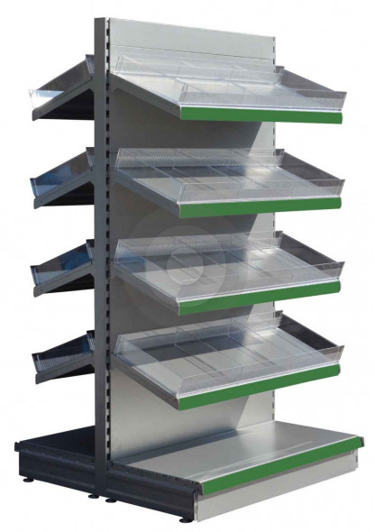 Tall gondola shelving RAL9006 and 8 upper shelves