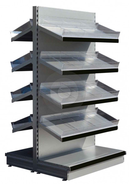 Silver tall gondola shelving with plastic toothed risers and plain dividers with black epos
