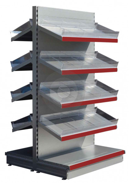 silver gondola shelving with red epos and plastic risers and dividers