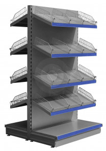silver gondola shelving with wire risers and dividers