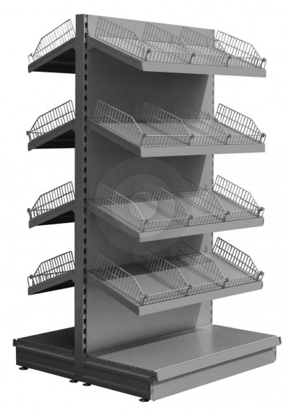silver shelving with wire shelf risers and dividers