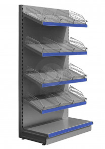 silver supermarket shelving with wire risers and dividers