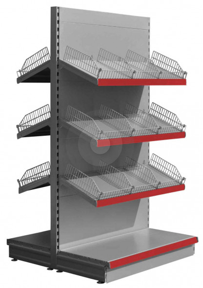 silver retail shelving with wire risers and dividers