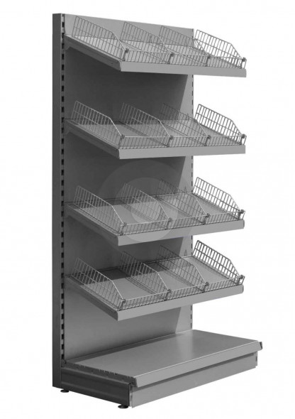 silver shelving bay with wire risers and dividers