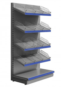 Wall Shelving with Wire Risers and Dividers - Silver (RAL9006)