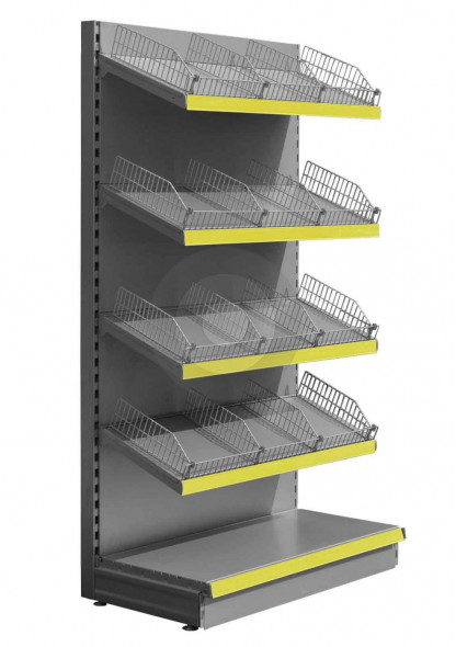 Silver wall shop shelving with wire risers and dividers