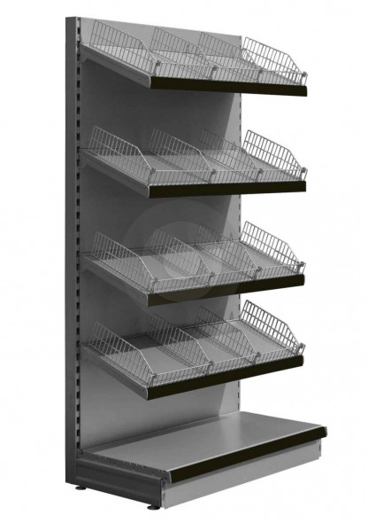 Silver wall shelving with wire risers and dividers and black epos strips