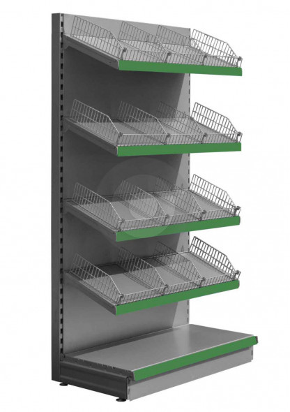 Silver wall retail shelving with wire risers and dividers