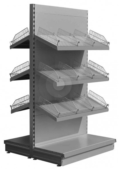 RAL9006 low gondola shelving with wire risers and dividers
