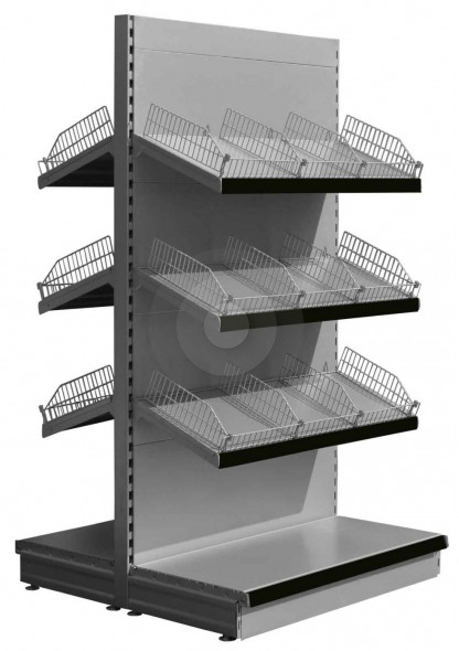Silver gondola shelving with wire risers and dividers and 6 sloping upper shelves