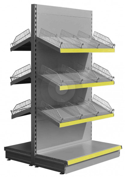 Base plus 3 Silver gondola shop shelving with wire risers and dividers