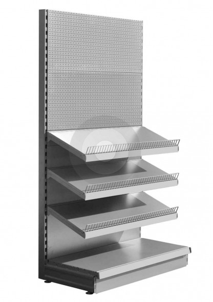 Silver stationery shop shelving unit