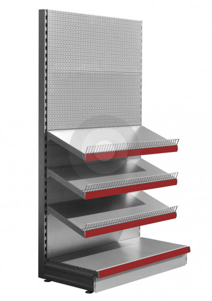 Silver stationery shelving unit has 3 upper shelves and pegboard back panels