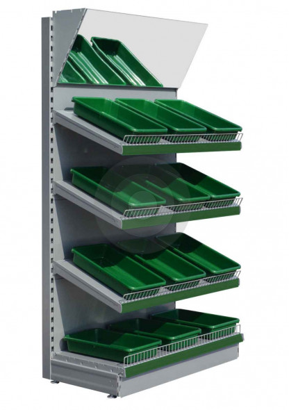 Silver fruit and veg display shelving