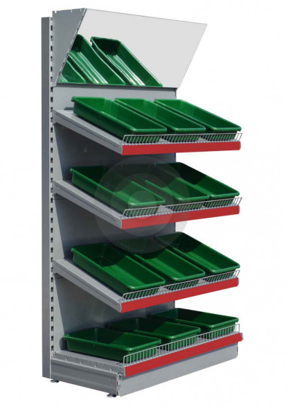 shop shelving with mirror canopy RAL9006