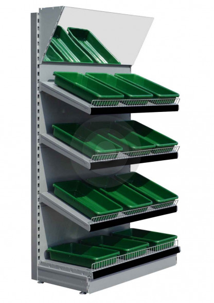 Silver green grocers shelving unit