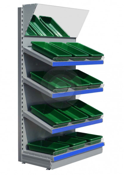 Silver retail shelving unit with mirror canopy and green trays
