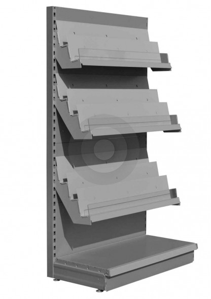 Silver 8 tier magazine shelving unit for newsagents