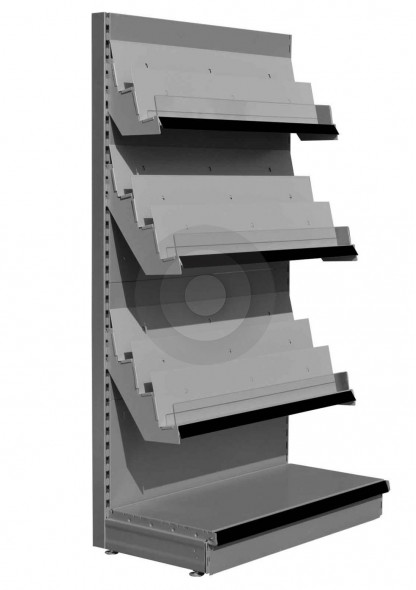 RAL9006 Silver 8 tier magazine shelving unit