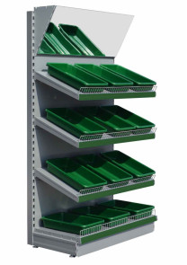 silver fruit and vegetable shelving