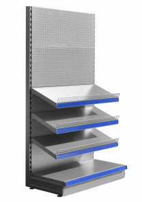 Silver stationery shelving unit