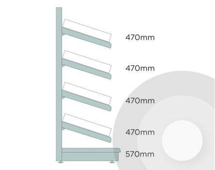 Deep Wall Shelving With Plastic Risers And Dividers Silver (RAL9006)