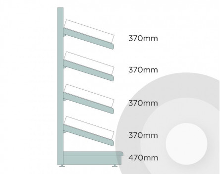 Medium Wall Shelving With Plastic Risers And Dividers Silver (RAL9006)