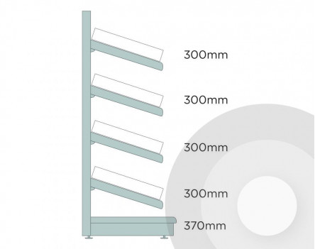Shallow Wall Shelving With Plastic Risers And Dividers Silver (RAL9006)