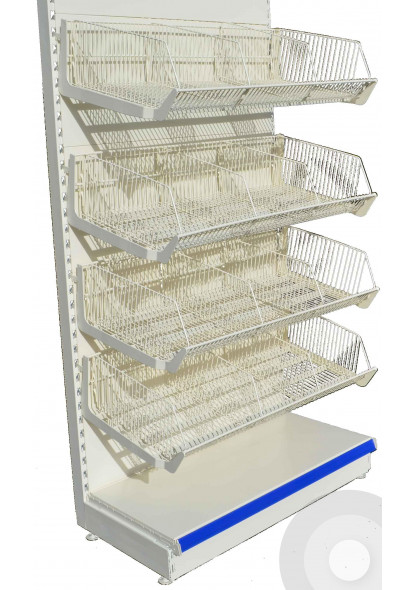 shop shelving with wire baskets