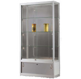 Wide display cabinet with glass top and storage cupboard