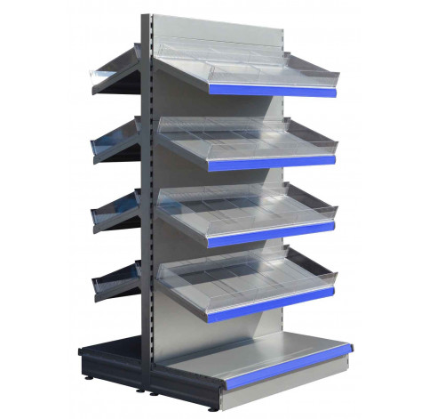 silver gondola shelving with plastic risers and dividers