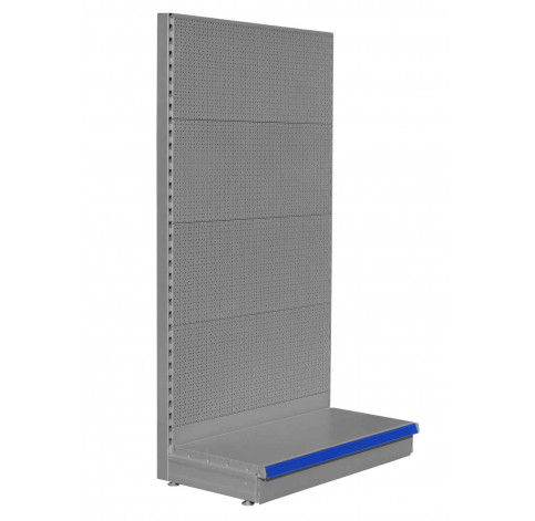 Silver pegboard shelving end bay