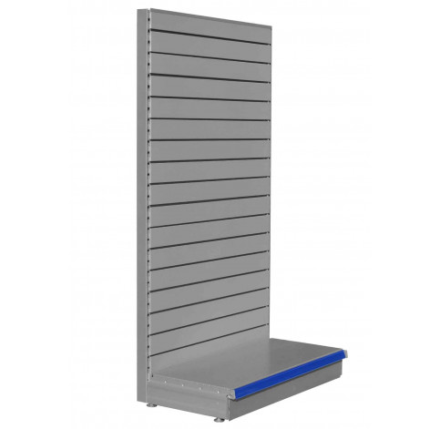 Silver shelving end bay with slatted back panels