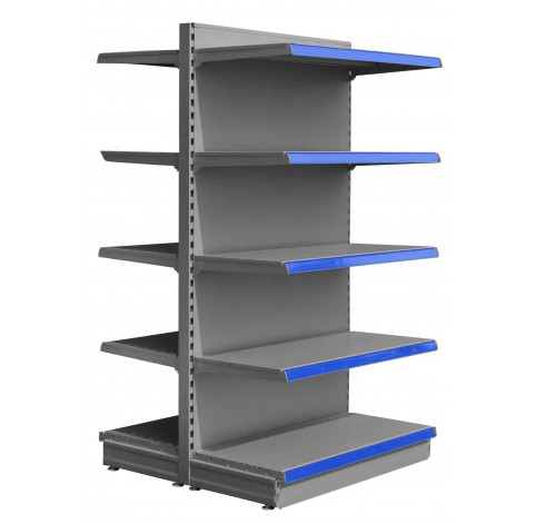 Silver maximum display gondola shelving