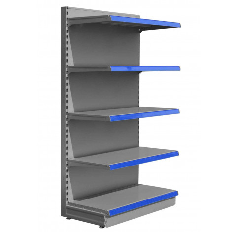 Silver shop shelving end bay