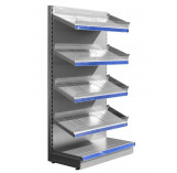 Silver shop shelving with plastic toothed risers and plain dividers
