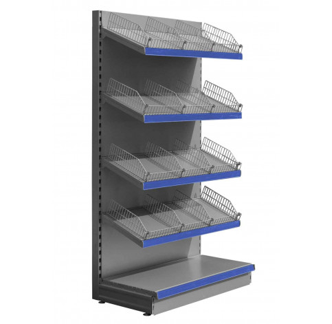 Silver wall shelving with wire risers and dividers