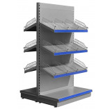 Silver low gondola shelving with wire risers and dividers