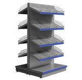 Silver tall gondola shelving with wire risers and dividers