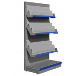 Silver 8 tier magazine shelving unit