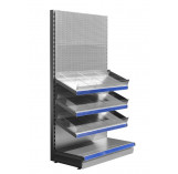 Silver confectionery shelving unit