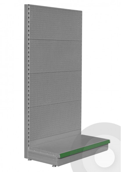 silver wall pegboard display shelving