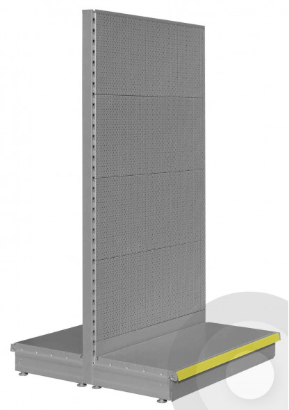 silver gondola shelving with perforated RL back panels