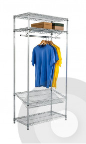 Chrome Garment Rack with Overshelf and Sloping Shelf