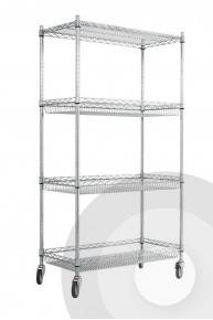 Chrome Wire Trolley with Basket Shelves