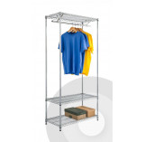 Chrome Garment Rack with Under Shelf