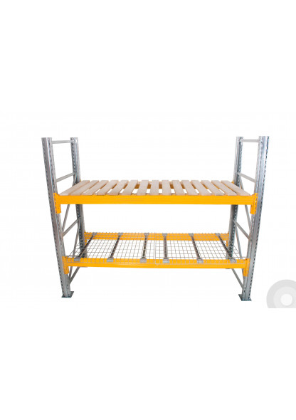 pallet racking with wire decking and open timber decking